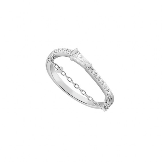 Minimalist curved silver ring with chain by Elsa Lee Paris