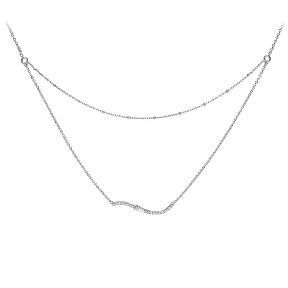 Sterling silver double chain necklace 925 silver from the Alizée collection