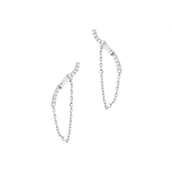 Silver Earline earrings with its glamorous chain for a modern and rock style