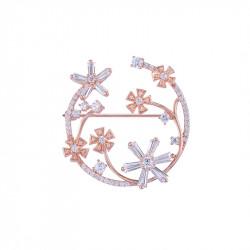 Broche à fleurs en argent plaqué or rose de la collection Pink Daisy