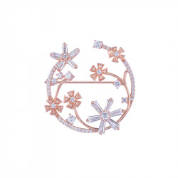 Pink gold plated silver flower brooch from the Pink Daisy collection