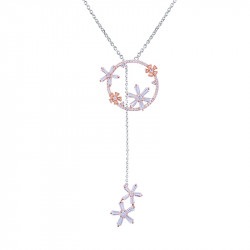 Pink Daisy tie-necklace flower design in rhodium coated sterling silver