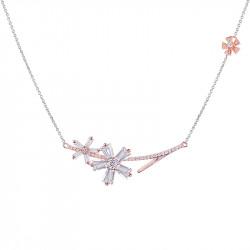 Collier fleurs en argent plaqué or rose de la ligne Pink Daisy