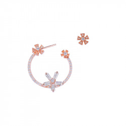 Pink Daisy asymmetrical ink gold plated silver earrings flower shaped by Elsa Lee