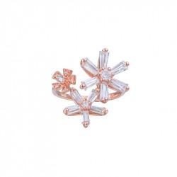 Bague ornée de fleurs plaqué or rose de la collection Pink Daisy