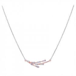 Collier plaqué or rose en argent et oxydes de zirconium style branchage