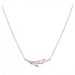 Pink gold plated 925 rhodium silver necklace and branch-style cubics zirconia