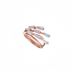 pink gold plated silver ring and branch-style cubics zirconia