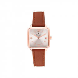 Montre cadran carrée Rose Gold et bracelet cuir Caramel