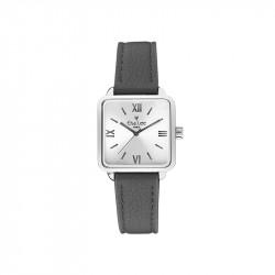 Montre cadran carrée argenté et bracelet cuir gris foncée par Elsa Lee Paris