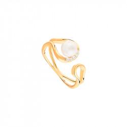 Bague perle blanche et or jaune en forme semi-ouverte. Collection en argent 925