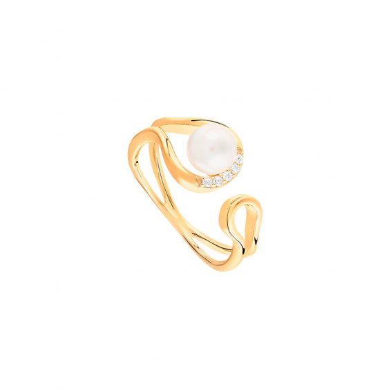 White pearl and yellow gold ring in semi-open shape. 925 silver collection