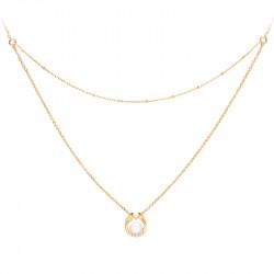 Collier deux rangs perle blanche et or jaune en forme semi-ouverte