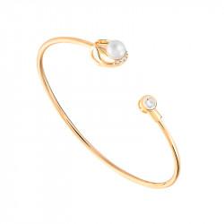 Bracelet jonc semi-ouvert perle blanche et or jaune de la collection Poéma
