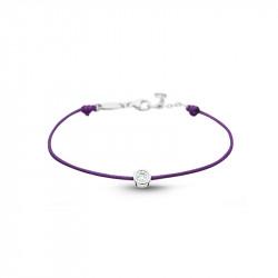 Bracelet Clear Spirit Elsa Lee Paris, oxyde de Zirconium serti clos sur cordon ciré violet