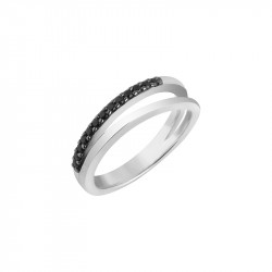 Black and white double row ring from the Tradition collection