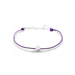 Elsa Lee Paris - Bracelet Clear Spirit, argent 925 rhodié sur cordon en coton ciré violet. - 1 oxyde de Zirconium 0,44ct serti c