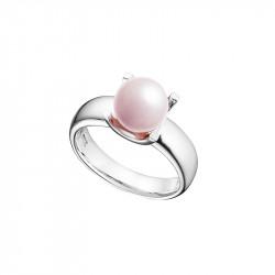 Bague argent rhodié et perle rose sertie, collection La Vie en Rose