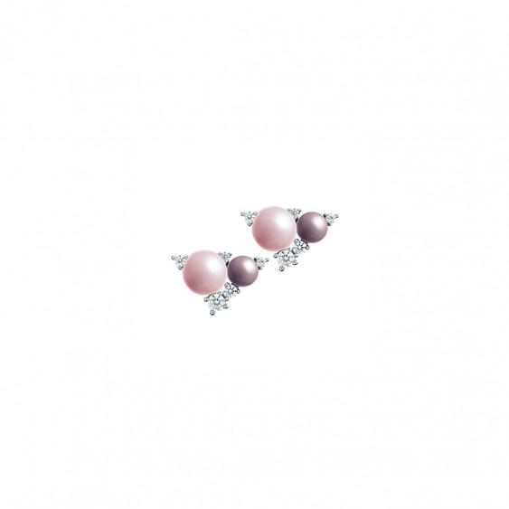 Boucles d'oreilles Elsa Lee Paris, collection la Vie en Rose, en argent, perles roses et violettes et oxydes de Zirconium