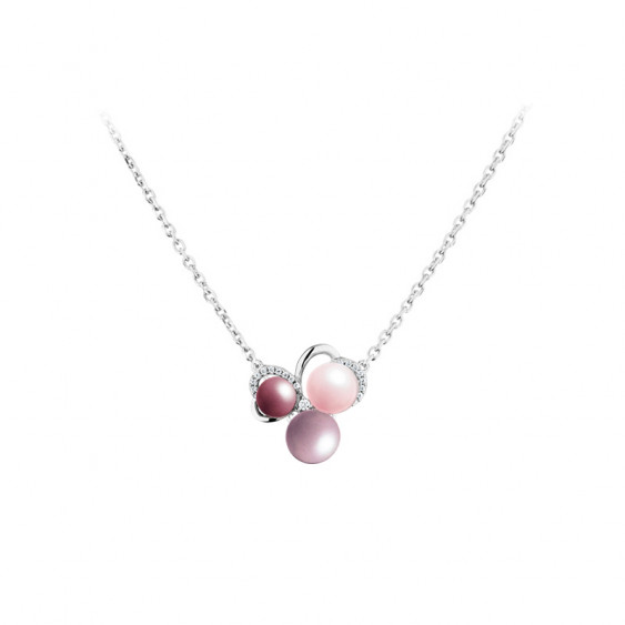 Elsa Lee Paris silver necklace from Life in Pink collection, flower shape made out of pink pearls and Cubic Zirconia