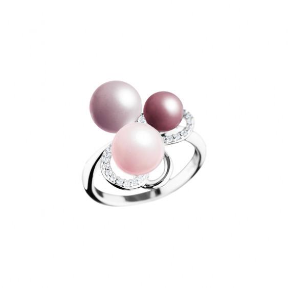 bague en argent 925 Elsa Lee Paris, collection la vie en rose, trois perles dans les tons de rose et oxydes de Zirconium blancs