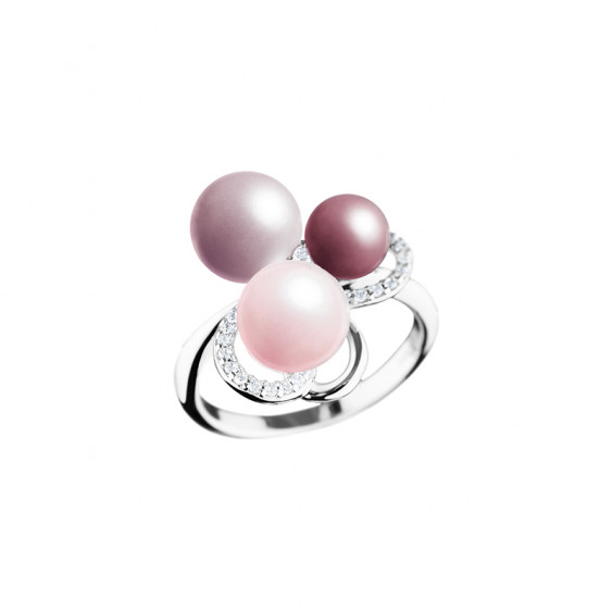 Elsa Lee Paris sterling silver ring, flower shape with pink pearls and cubic Zirconia