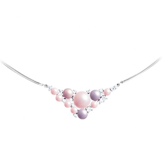 Collier rigide Elsa Lee Paris, collection La Vie en Rose, motif voie lactée en triangle avec perles et oxydes de Zirconium