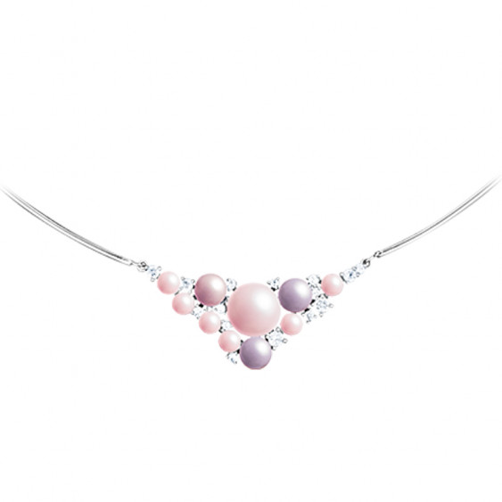 Elsa Lee Paris silver necklace with a stiff chain and pendant made with pink pearls and Cubic Zirconia