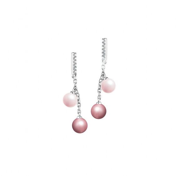 Boucles d'oreilles pendantes Elsa Lee Paris, 4 perles différents tons de rose et oxydes de Zirconium sur la monture