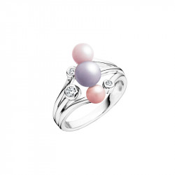 Elsa Lee Paris silver ring made with pink pearls and Cubic Zirconia, from Life in Pink collection