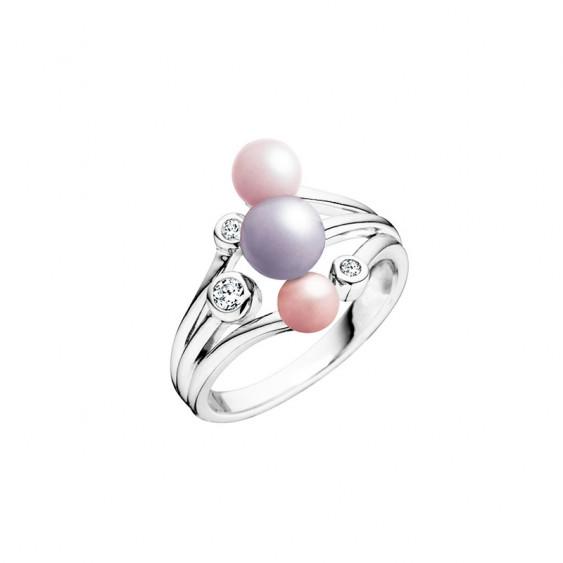 Bague Elsa Lee Paris de la collection la Vie en Rose, avec 3 perles dans les tons de rose et 3 oxydes de Zirconium