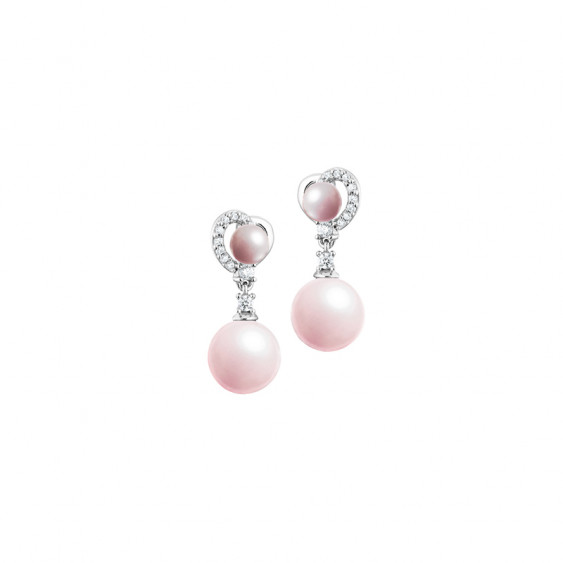 Elsa Lee Paris silver earrings, with dangling pink pearls surrounded by Cubic Zirconia