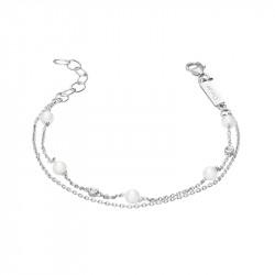Bracelet double rang en argent et perles blanches de la collection Pureté