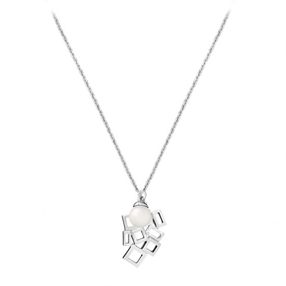 Silver Square necklace with white pearl by Elsa Lee Paris