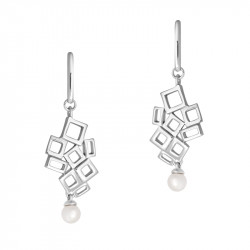 Silver white pearl dangling earrings with fractal cubic design by Elsa Lee. A modern take on the elegant white pearl