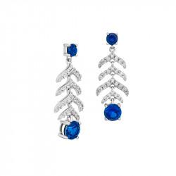 Boucles d'oreilles pierres couleur saphir et argent inspirée de la haute joaillerie