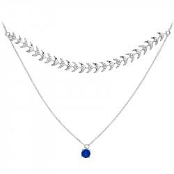 Collier double rang pierre bleue et argent inspiré de la haute joaillerie