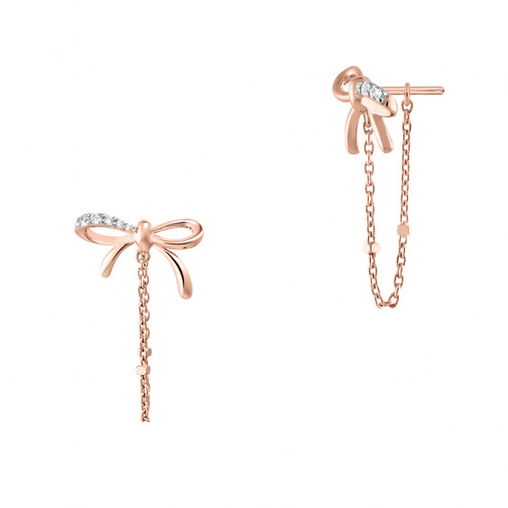 Betty Bow earrings with rose gold silver chain - Bow ear jacket earrings with rose gold chain by Elsa Lee Paris
