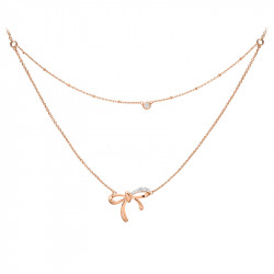 Silver Rose Gold Bow necklace with its double row and close set cubic zirconia by Elsa Lee Paris