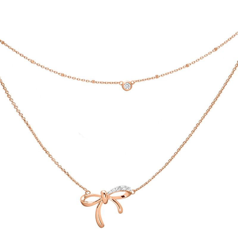 Rose Gold Silver Bow Necklace With Double Row Elsa Lee Paris