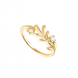 Golden Laurel Leaf ring in gilded 925 silver by Elsa Lee Paris - An elegant design of laurel crown on a golden ring