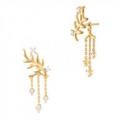 Boucles d'oreilles ear jacket dorées style couronne de lauriers, argent 925