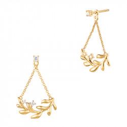 Boucles d'oreilles ear jacket pendantes dorées style couronne de lauriers, argent 925