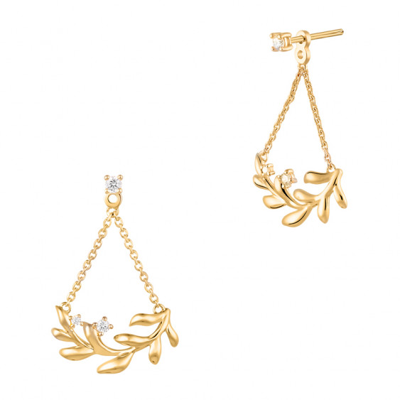 Golden Laurel Leaf earrings by Elsa Lee Paris in 925 silver and gently gilded