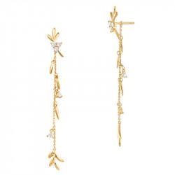 Boucles d'oreilles ear jacket longues dorées style couronne de lauriers, argent 925