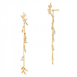 Golden laurel leaves earrings in gilded 925 silver by Elsa Lee Paris