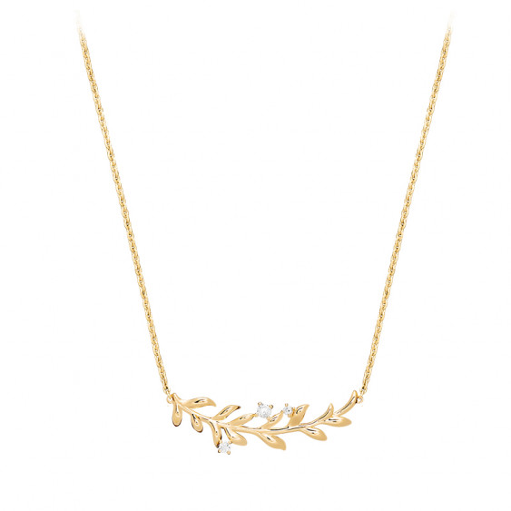 Gilded silver golden laurel leaves necklace by Elsa Lee Paris