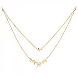 Collier double chaîne style couronne de lauriers, argent 925