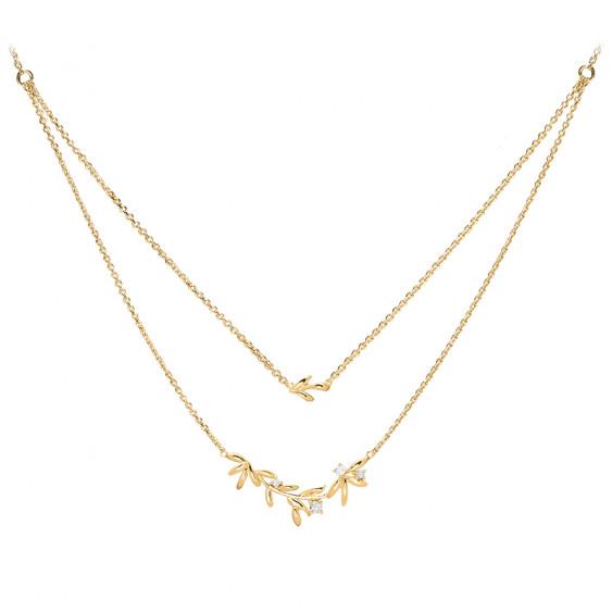 Gilded silver Laurel leaves necklace on golden double chain by Elsa Lee Paris