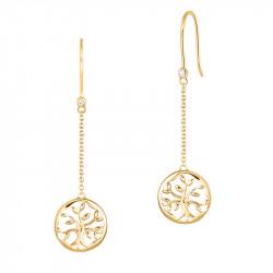 Boucles d'oreilles Arbre de Vie pendantes en argent plaqué or jaune par Elsa Lee Paris